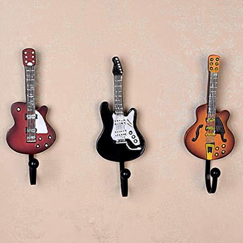Juego De 3 Piezas De Ganchos Decorativos Vintage Perchas De Forma De Guitarra Montadas En La Pared Perchas para Ropa Colgando Toalla Llave Sombrero Metal Resina Gancho Montado En La Pared Pesado