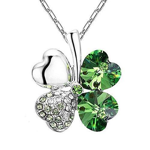 Ketting - vrouw - klavertje vier - groen - cadeau-idee - geluksbrenger - hanger - harten - oceaan - vrouw - meisje - moeder - cadeau-idee - verjaardag - kerstmis