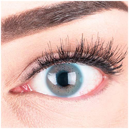 """Sehr stark deckende und natürliche blaue Kontaktlinsen SILIKON COMFORT NEUHEIT farbig """"Lacey Blue"""" + Behälter von GLAMLENS - 1 Paar (2 Stück) - DIA 14.50 - ohne Stärke 0.00 Dioptrien"""