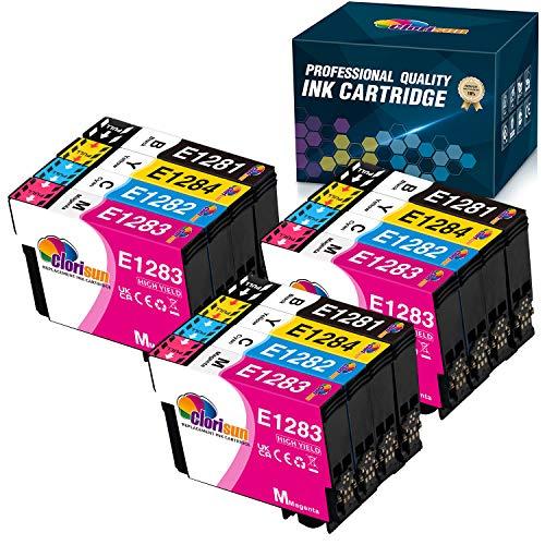Clorisun 128XL Cartuccia d'inchiostro per Epson T1285 T1281 T1282 T1283 T1284 Tintenpatronen für Epson Stylus S22 SX125 SX420W SX425W SX235W SX130 SX435W SX230 SX440W Office BX305F BX305FW(12 Pezzi)