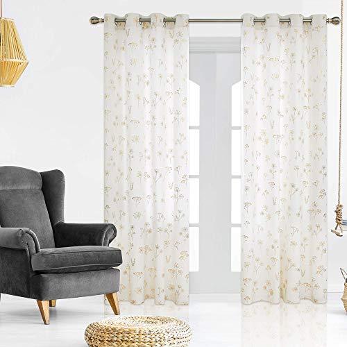 Deconovo Cortinas Termicas Aislantes Frio y Calor Súper Suave para Dormitorio Matrimonio Salón Hotel Casa con Ojales 140 x 290 cm Blanco