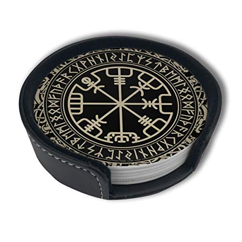 Black Celtic Viking Design Leather Coasters Cup Mats For Drinks With Holder,Set Of 6