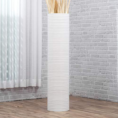 Leewadee Große Bodenvase für Dekozweige hohe Standvase Design Holzvase 112 cm, Mangoholz, weiß