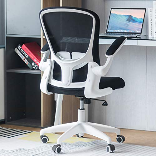 Sytas Office Chair Ergonomic Desk Chair Computer Task Mesh Chair with Flip-up Arms Lumbar Support and Adjustable Height,White