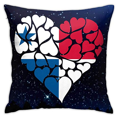 Traveler Shop Funda de Almohada Panama Flag Heart LoveFunda De Cojín Cuadrada Sofá Hogar Decorativo 18x18 Pulgadas
