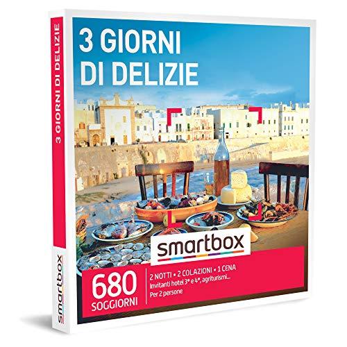 Smartbox - 3 Giorni di Delizie - Cofanetto Regalo Coppia, 2 Notti con Colazione e 1 Cena per 2 Persone, Idee Regalo Originale