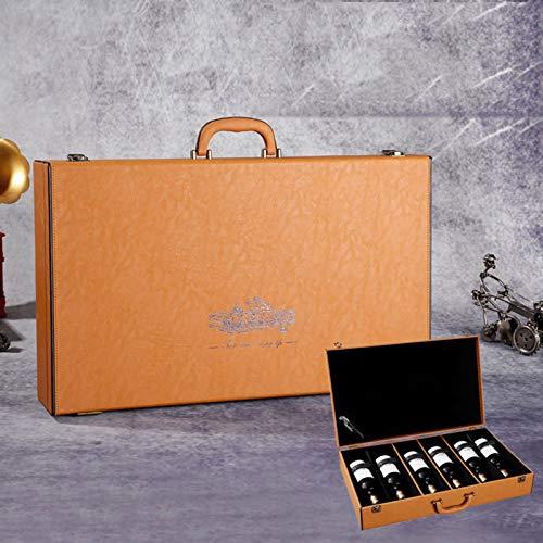 YC-Caja de Regalo Seis Botellas de Vino Tinto Caja de Cuero Vino Tinto Transporte al Aire Libre Caja de protección de la colección Interior (Color : C)