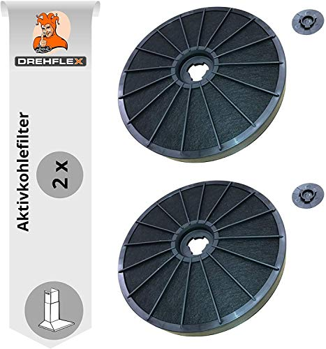 DREHFLEX AK14-2, 2 Aktivkohlefilter Dunstabzugshaube, Electrolux 9029793776, Whirlpool 481281718521 & weitere, Maße ca. 230mm