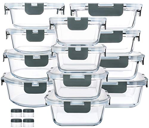 24-Piece Glass Food Storage Containers with Upgraded Snap Locking Lids