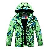 Aiyuke Boys Rain Jacket Outdoor Light Waterproof Jackets Raincoat Hooded Light Windbreaker for Camping Hiking (Green, 6)