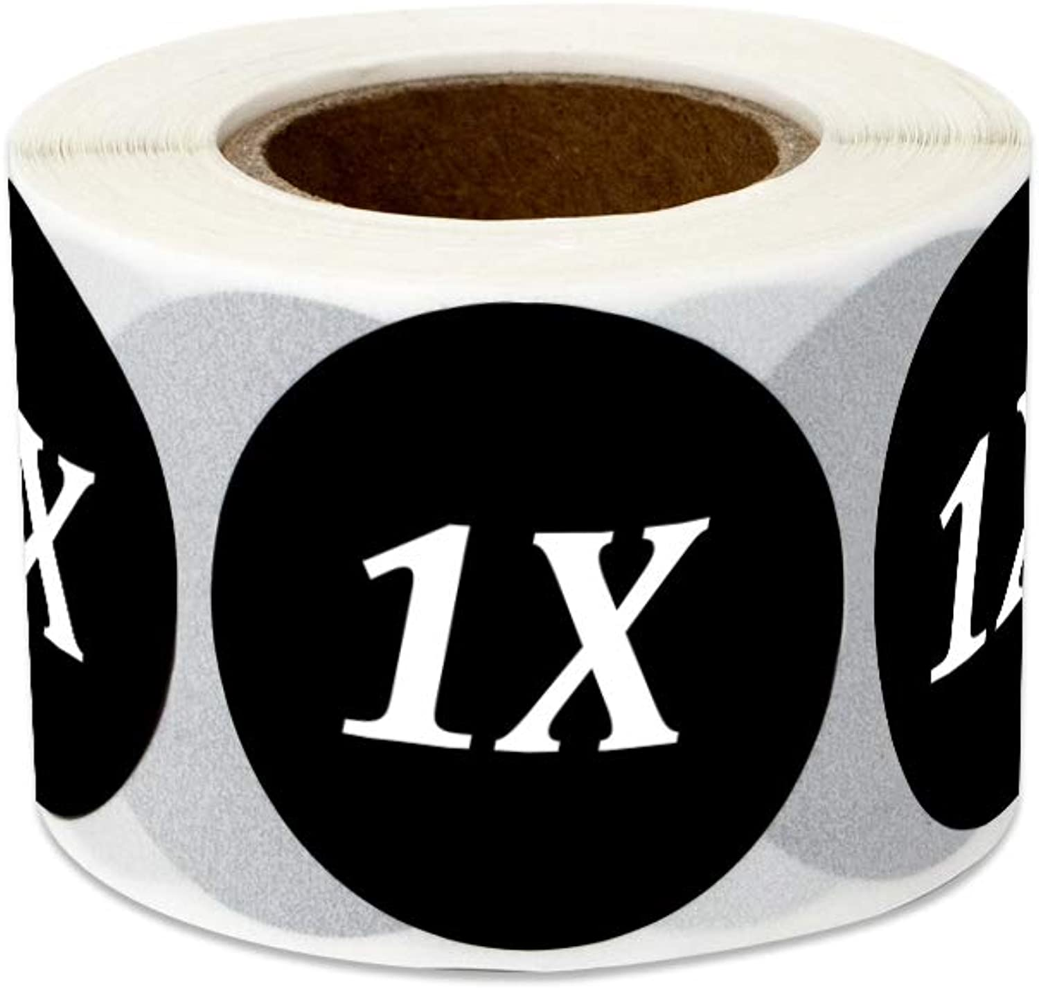 600 Labels - Size 1X Stickers for Clothing Sizing Retail Shops Apparel Extra-Large (1.25 Inch Round Black - 2 Rolls)