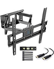 TV Wandhalterung, Schwenkbare Neigbare TV Halterung für 32-55 Zoll Flach & Curved Fernseher oder Monitor bis zu 45kg, max.VESA 400x400mm