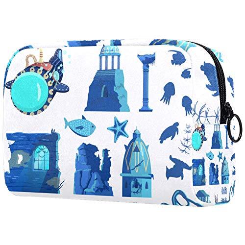 Ancient City Sous-marin Animaux sous-marins Petit sac de maquillage pour sac à main voyage Maquillage Pochette Mini sac à cosmétiques pour femme