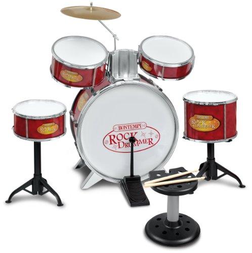 Bontempi–515240–Musikinstrument–Schlagzeug mit Stuhl, red