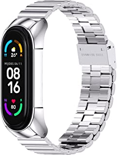MIJOBS Bands Compatible with Xiaomi Mi Band 5 / Mi Band 4 / Mi Band 3,Stainless Steel Watch Band Metal Replacement Bracele...