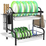 Dish Drying Rack, SZMDLX 304 Stainless Steel 2-Tier Dish Rack with Utensil Holder, Cutting Board Holder and Dish Drainer for Kitchen Counter Top, Plated Chrome Dish Dryer Black