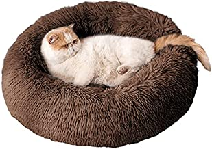 BEDELITE Cat Bed & Dog Bed 20X20 inch for Small Cat & Dog, Calming The Anxiety Cat & Dog, Fluffy Cute Donut Pet Bed in Shag Fur for Indoor Use (Brown) - Fit up to 15 LBs, Machine Washable