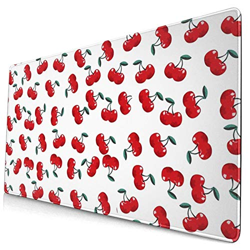 King Dare Cherry Large Gaming Mouse Pad, Exteneded Desk Mouse Mat with Stitched Edge, Non Slip,Anti-Fray, Designed for Home and Office, 30x15.7x0.13 Inch