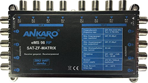Ankaro Multischalter eMS 98 RP zum Anschluss von zwei Quattro LNB - stromsparend mit ZERO-Watt Standby-Funktion