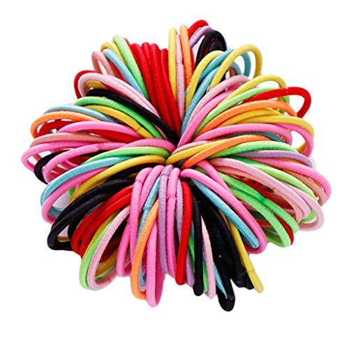 niumanery 100Pcs/Pack 3cm Elastic Nylon Hair Ties Rope Baby Girls Tiny Ponytail Holder Rainbow Candy Color Scrunchie Kids Hair Accessories K