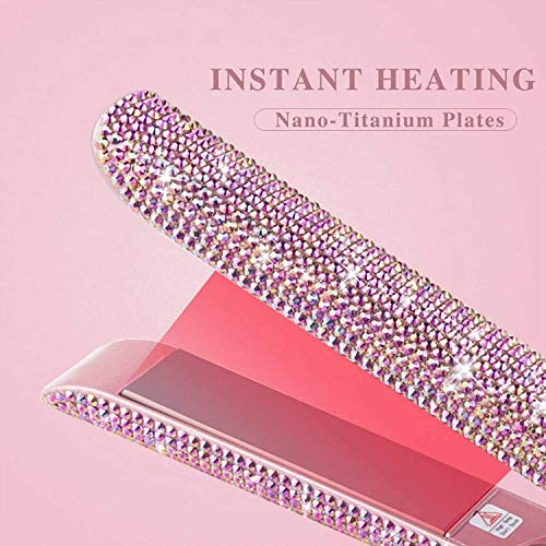 NLRHH Straight Hair Iron 2 in 1 Haare Curling Gerade Witzige Eisen Curler Spaling Kristall Strasssteine Bling a Peng (Color : A)