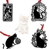 amupper Creative Katze Lesezeichen mit Quasten und Umschlag, 4Stück, Metall, schwarz, LEISURE