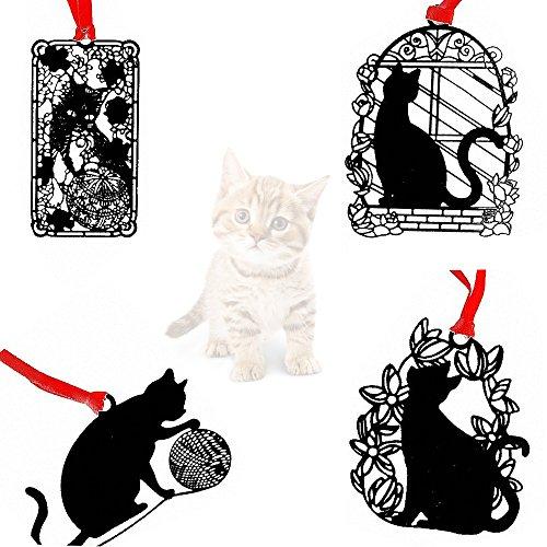 Amupper, segnalibri creativi con motivo del gatto, con nastro e busta, confezione da 4, Metallo, black, LEISURE