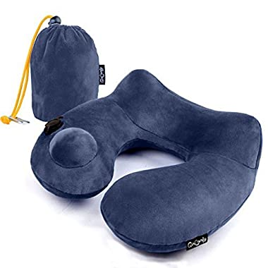 AirComfy Daydreamer Inflatable Neck Travel Pillow - Luxuriously Soft Washable Cover and Compact Packsack with Travel Clip - for Lightweight Support in Airplane, Car, Train, Bus and Home - Dark Blue