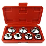 Heavy Duty 7-Piece Oil Filter Cap Wrench Tool Kit Can Last for Ever Includes 24mm,27mm,29mm,30mm,32mm,36mm,38mm Socket Set Compatible with Mercedes Benz, VW, BMW and More Oil Filter Housing