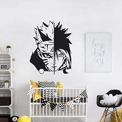WERWN Naruto y Sasuke Art Sticker Dormitorio Familiar Vinilo para habitación de niños