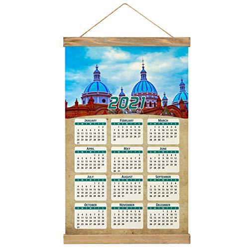 "Ecuador Imprimir Póster Calendario de Pared 2021 12 Meses Pintura decorativa Cuadros Colgantes Lienzo Madera 20.4 ""x 13.1"" GL-Ecuador-1618"