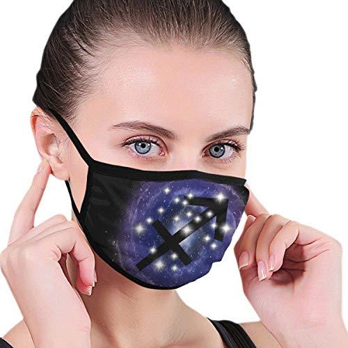 Sagittarius Sternzeichen Sterne Sternbild auf Nebel Unisex-Grafiken Rauchallergien Waschbarer wiederverwendbarer Mundschutz für Reisen