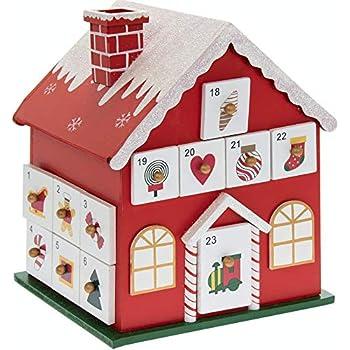 Rouge 37/cm WeRChristmas D/écoration en Bois en Calendrier de lAvent Maison D/écoration de No/ël