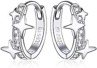 Qings Créoles en Argent Sterling 925 Boucles d'oreilles Huggie avec étoiles et Zircone Cubique Argent Petite Créoles Boucl...