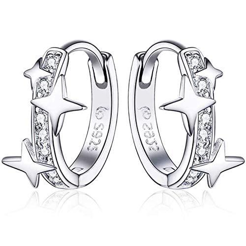 Qings Aros Pendientes,Plata de Ley 925 Mujer Pendientes con Brillante Circonita y Estrellas Joyería de Moda para Mujeres Niñas Regalo de Cumpleaños Navidad San Valentín