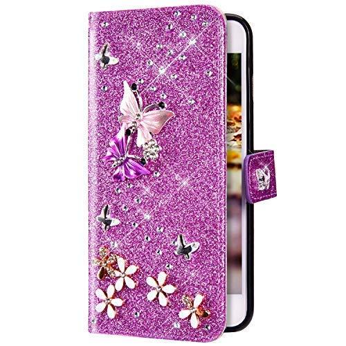 Uposao Kompatibel mit Samsung Galaxy A3 2017 Hülle Schmetterling Blume Diamant Strass Bling Glitzer Handy Hülle Leder Wallet Schutzhülle Brieftasche Hülle Klapphülle Tasche Kartenfächer,Lila
