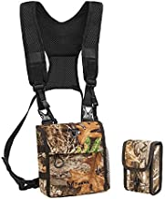 TIDEWE Bino Harness with Rangefinder Pouch & Rain Cover, Durable Lightweight Portable Binocular Pack, Comfortable Small Bino Chest Harness for Hunting, Hiking (Realtree Edge Camo)