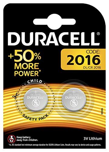 Duracell Specialty 2016 Lithium-Knopfzelle 3V, 2er-Packung (CR2016 /DL2016) entwickelt für die Verwendung in Schlüsselanhängern, Waagen, Wearables und medizinischen Geräten.