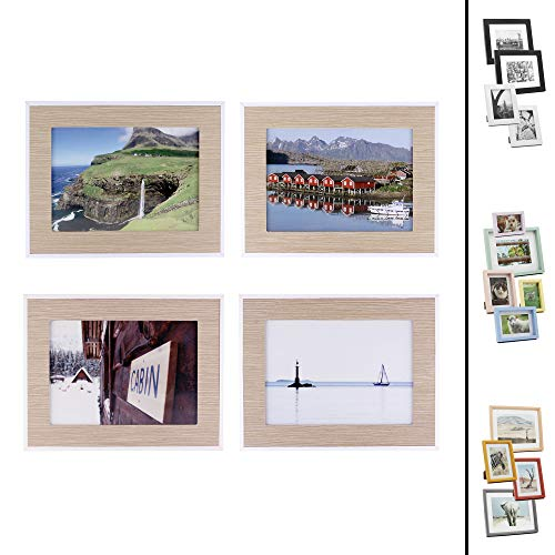 Quubik Design - Photo Frame Set in Scandinavian Style - Set of 4 in Sizes 5x7in - Other Styles Available