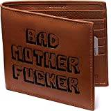 Bad Mother Fucker - Ricamato, vera pelle, marrone chiaro, libero CC Wallet