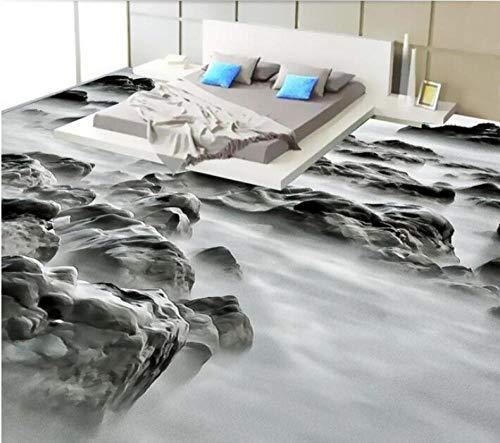 3D-PVC-Boden Benutzerdefinierte wasserdichte selbstklebende Sea Rock Landscape Fashion 3D-Badezimmerboden Foto 3D-Wandbild Wallpaper-200Cmx140Cm