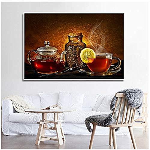 Canvas print,Home Decor Muurschildering Zwarte Thee Citroen Drink Wall Art Poster Voor Keuken Eetkamer Decor Foto-60x90cm