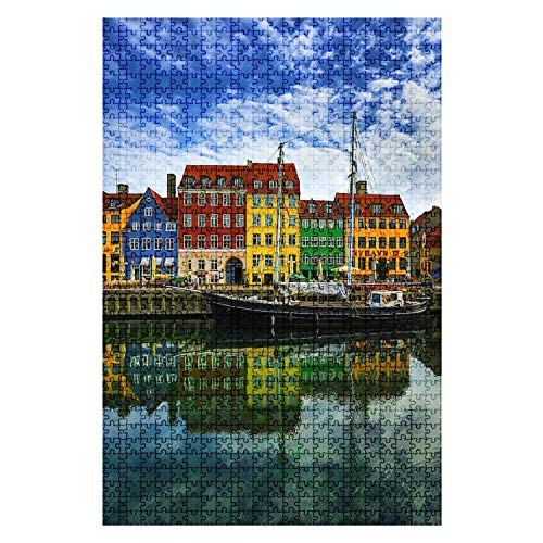 1000 Pieces Wooden Jigsaw Puzzle nyhavn Harbour Copenhagen Denmark Famous Building Stock Pictures Fun and Challenging Board Puzzles for Adult Kids Large DIY Educational Game Toys Gift Home Decor