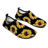 Water Sports Shoes Barefoot Quick-Dry Aqua Yoga Socks Beach Slip-on for Men Women, 11/12men-Sunflower Flower