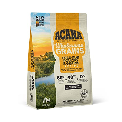 Acana Wholesome Grains Dry Dog Food, Free Run Poultry and Grains, Chicken & Turkey, Cage-Free Eggs, Gluten Free, 4lb