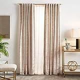 MARTHA STEWART Monroe Metallic Velvet Back Tab Window Curtain Panel Pair, 95', Blush