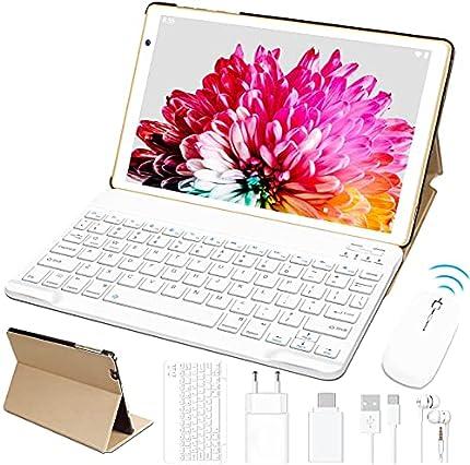 Tablet 10 Pulgadas HD FACETEL Android 10 Pro Tablet PC Octa-Core 1.6 GHz 4GB + 64GB (TF 128GB), Tableta con Teclado y Mouse, Cámara Dual, Bluetooth 4.0 | Hotspot Móvil | WiFi - Oro