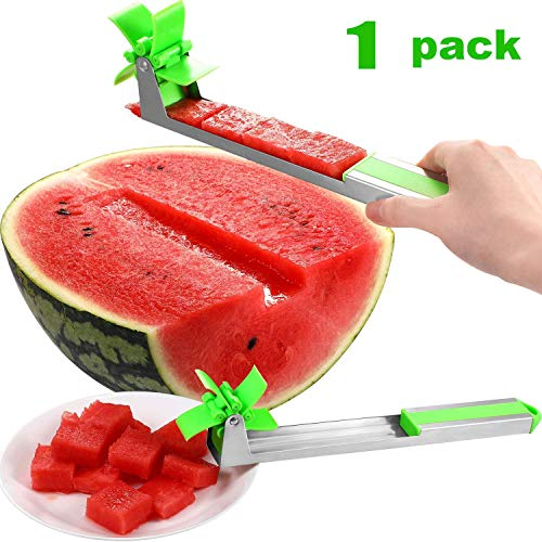 Stainless Steel Water Cutter Watermelon Slicer, Novel Windmill Watermelon Tongs Corer,Creative Cantaloupe Cutter Knife Fruit Vegetable Kitchen Tools