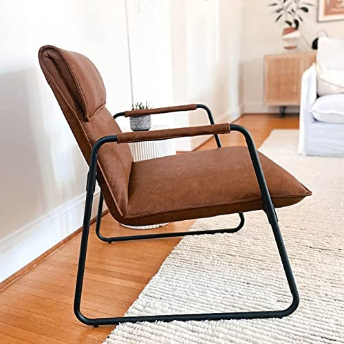 Sophia & William Accent Chair, Leather Lounge Chair with Metal Legs, Modern Upholstered Armchair for Living Room Bedroom, Mid Back, Brown