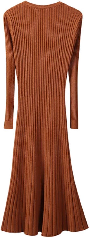 MTBDLYQ Woman'S Dress,Robe Femme Ladies Winter Warm Long Sleeve Shirt Slim Fit Long Dress